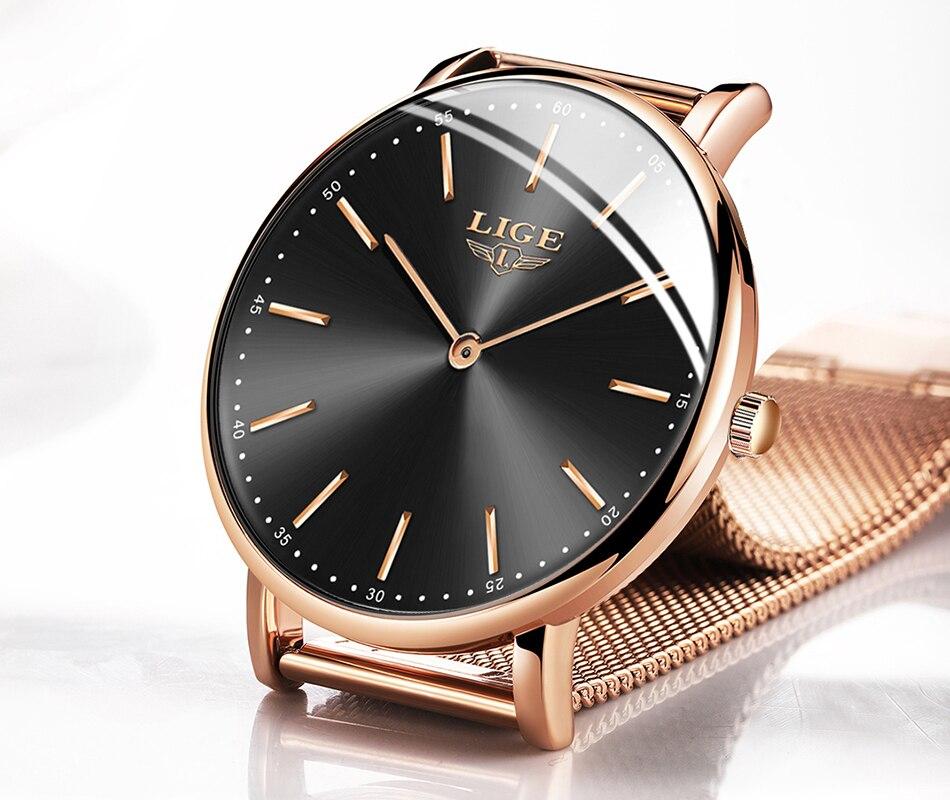LIGE Slim Rose Gold Mesh Stainless Steel Watches Women Top Brand Luxury Fashion Clock Ladies Wrist Watch Lady Relogio Feminino