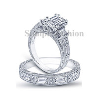 Victoria Wieck Antique Jewelry Princess Cut 3ct Simulated Diamond Cz 925 Sterling Silver Women Engagement Wedding