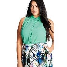 2017 5XL 6XL Sleeveless Big Size Women Clothing Chiffon Shirt Harajuku Top Summer Plus Lace Sexy Blusas Tops