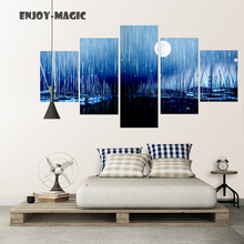 Home Decor Serenely Night Harbour Seaport Wall Art Canva No Frame Poster Modern 5 Piece Oil Painting Picture Panel Print  A-015