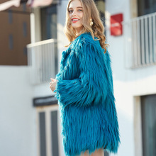 New Women Faux Fox Fur Jacket Winter Warm Furry Fur Coat Outerwear Hairy Collarless Overcoat Plus Size fashion female shipping цены