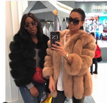Classsic Fashion Blogger bella reale cappotti di Pelliccia di lusso Striscia di disegno IMPORTATO Finlandia Genuino della Pelliccia di Fox giacche delle donne più il formato
