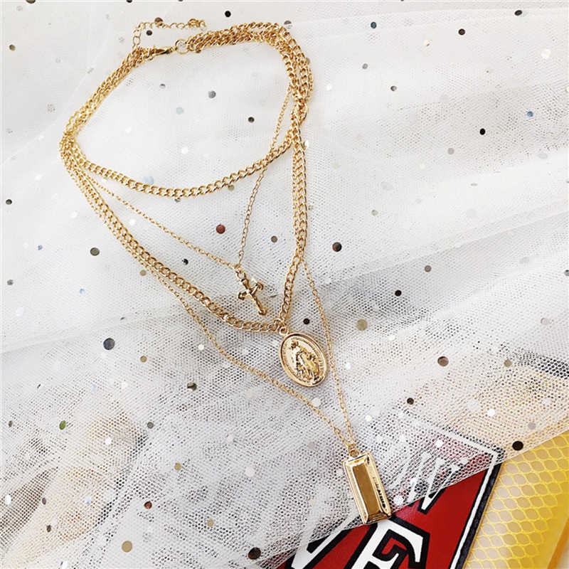 Peri'sBox Gold Sliver Color Multi Layered Chokers Necklaces for Women Boho Hanging Pendant Necklaces Statement Cross Coin Choker