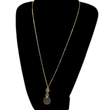 New Round Sequins Long Chain Necklace Pendants Women Exquisite Clavicle Gold Silver Collares Jewelry