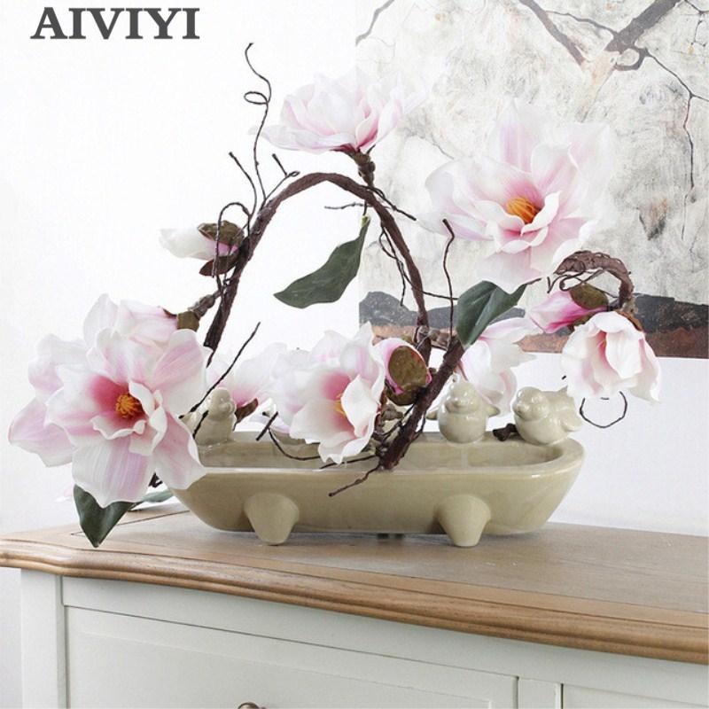 185cm Magnolia artificiel soie fausse Fleur branche Fleur Artificielle Flores organiser Table mariage décor à la maison accessoire de fête
