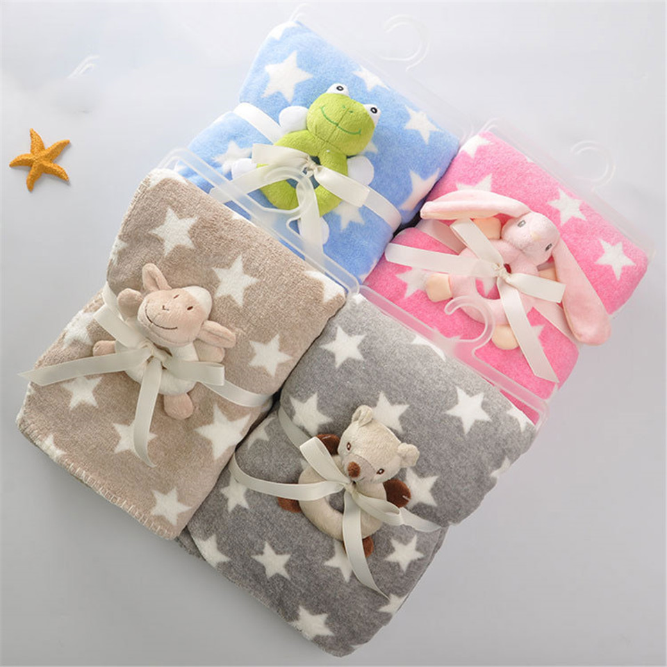Stars Baby Blankets Newborn Coral Fleece Autumn Winter Upset Babys Swaddling Swaddle Wrap Nursling Sleeping Plush Toy Handbell