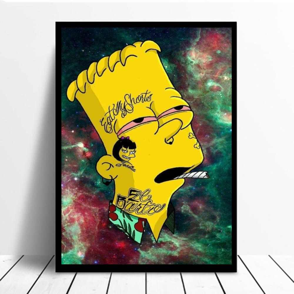 Bart Cartoon On Weed Wallpaper Canvas Painting Print Living Room Home Decor Modern Wall Art Oil Painting Poster Salon Pictures Aliexpress