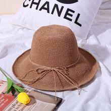 38721bc345214 Nouveau à la main tricoté version Coréenne de Lafite chapeau de paille  femelle pliant protection uv