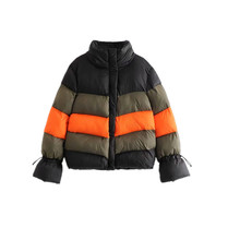 Women Color Block Winter Warm Parkas Turtleneck Long Sleeve Zipper Pocket Jacket Coat Female Adjustable Drawstring Hem Outerwear