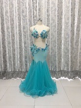 Bellydance oriental Belly Indian gypsy dance dancing costume costumes clothes bra belt chain scarf ring skirt dress set suit 609