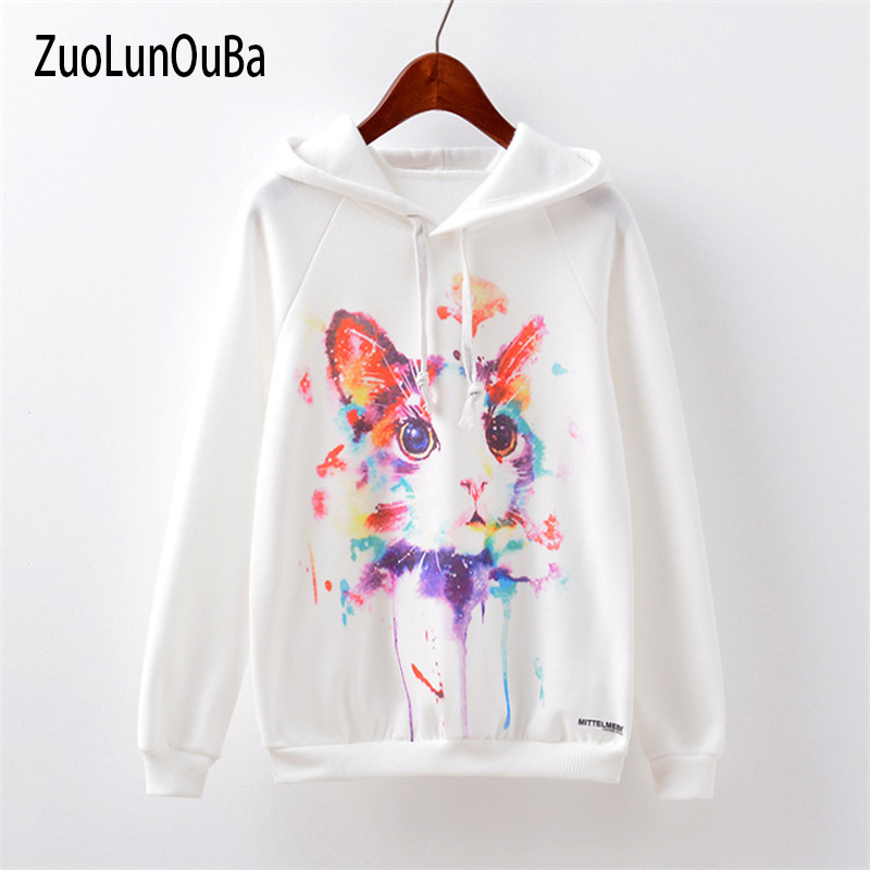 Zuolunouba Fall Hoody Sweatshirt European And American Women Watercolor Cat Cartoon Print Loose Hooded Casual Women Pullover