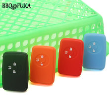BBQ@FUKA Silicone rubber car key fob case protected Car cover 3 Buttons Fit For Toyota Reiz Corolla RAV4 4 Color