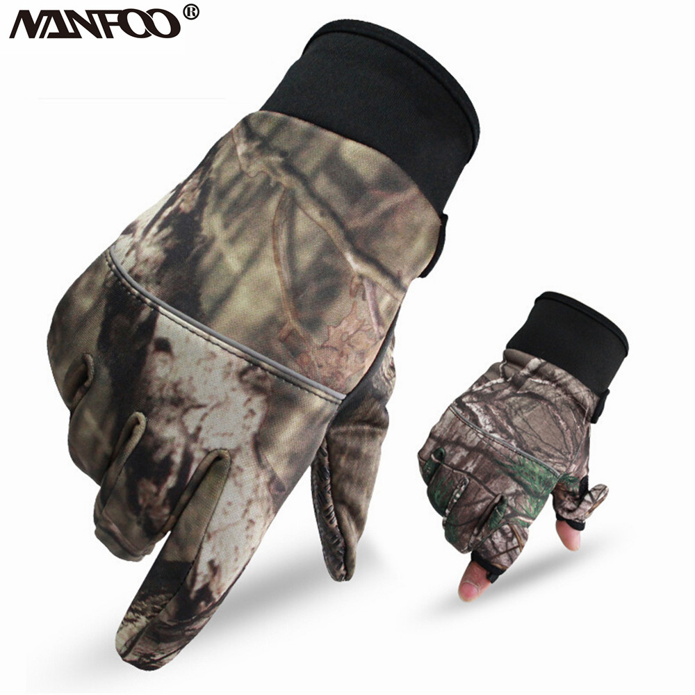 Autumn Winter Tree Bionic Camouflage Hunting Fishing Gloves Two Fingers Off Anti-Slip Riding Gloves Unisex Camo Full Mitten