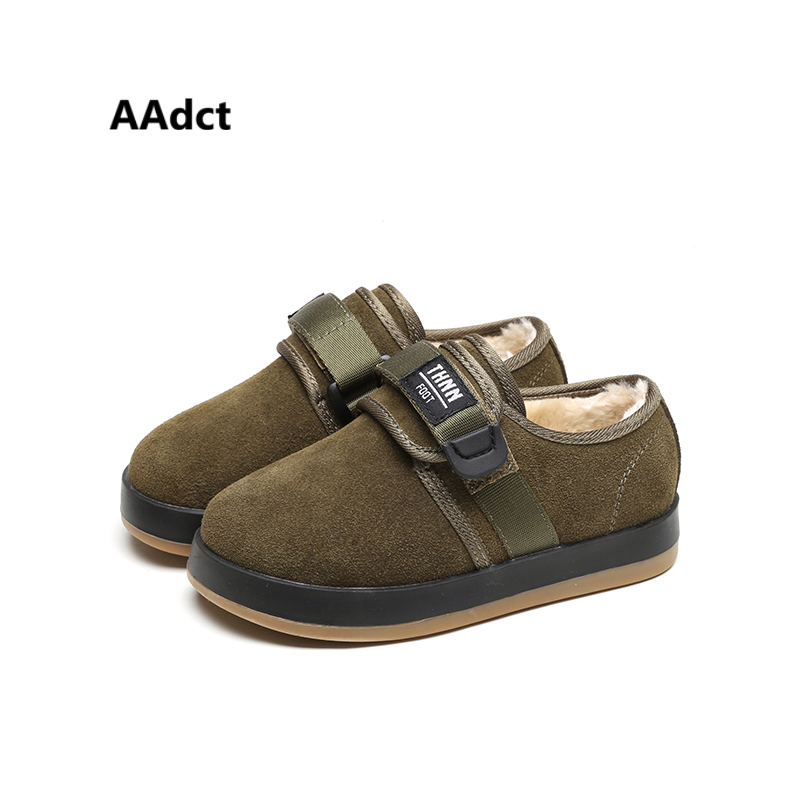 AAdct Genuine leather children shoes winter warm girls boots fur cotton kids snow boots Army green boys boots sports student все цены
