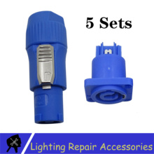 Power-Plug Moving-Head-Light 3-Pin-Blue-Connector for Audio-Cable Great-Quality 5sets