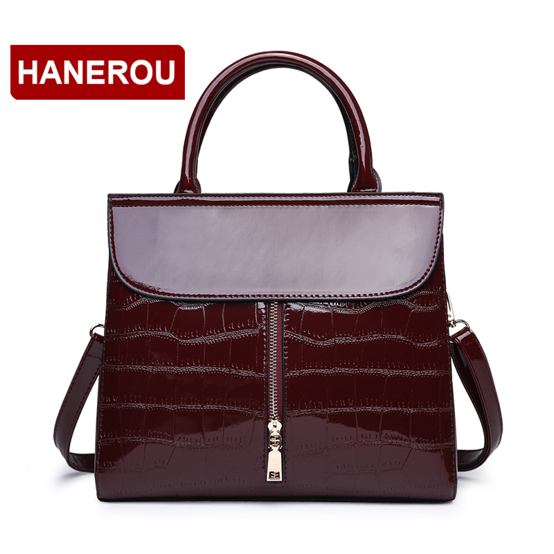 Women Patent Leather Handbags Famous Brand Ladies Shoulder Bags Alligator Women Hand Bag Large Capacity Tote Bag Bolsa Feminina soar women leather handbags large women bag shoulder bags ladies brand alligator crocodile pattern hand bags tote female blosa 3