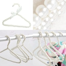 3pcs Plastic Pearl Beaded Bow Clothes Dress Coat Hangers Wedding For Kid Children Save-Space Storage Organizer Dry Rack