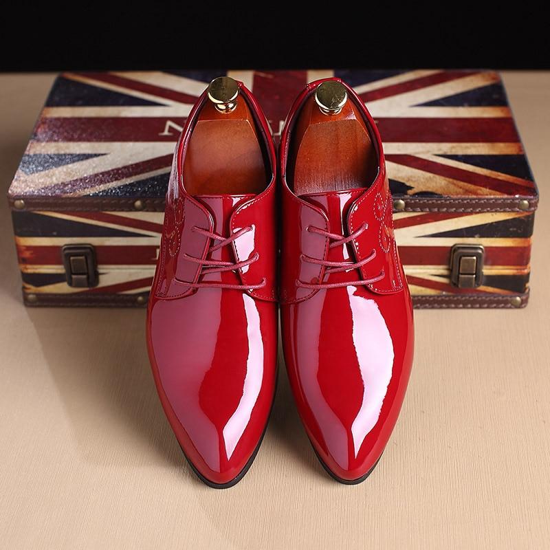 Verni Cuir Bout De Blanc Britannique rouge Pointu Noir Casual blanc bleu Hommes Mariage À En Style Chaussures Oxford Fête Formel Lacets xYq0EPw4