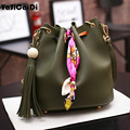 Fashion PU Leather Ribbon Women Handbag Leisure Colorful Messenger Bag Luxury Scarf Drawstring Bucket Bag 2 Set Composite bolsos