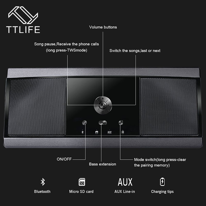 TTLIFE Portable Metal Bluetooth Speakers Well Sealed Dual-Channel Stereo Unique Optimal Speaker Connect Easily Handsfree 20W original ovevo tango d10 dual wireless bluetooth speaker mini magnetic surround stereo speakers portable outdoor player