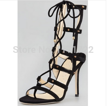 Sexy cut-outs design Studded Lace-up High Heel Gladiator Sandals women Cross straps Rivets Sandal boots