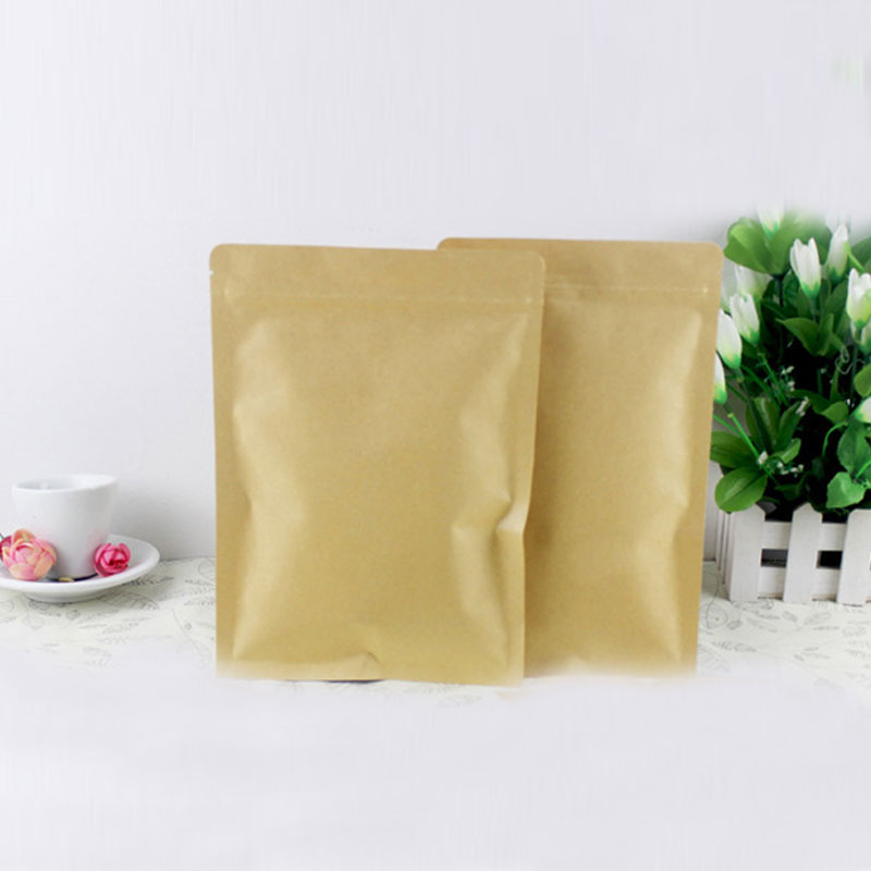 300pcs flat brown kraft paper bags for gifts/candy/tea/food/wedding not window no stand up zipper crafts Packing bag