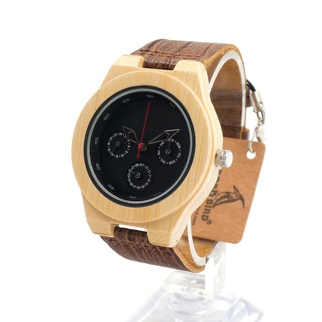 Bobo bird h28 mens de bambu de madeira relógio com pulseira de couro relógio de pulso relógio resistente à água 3atm para das mulheres dos homens na caixa