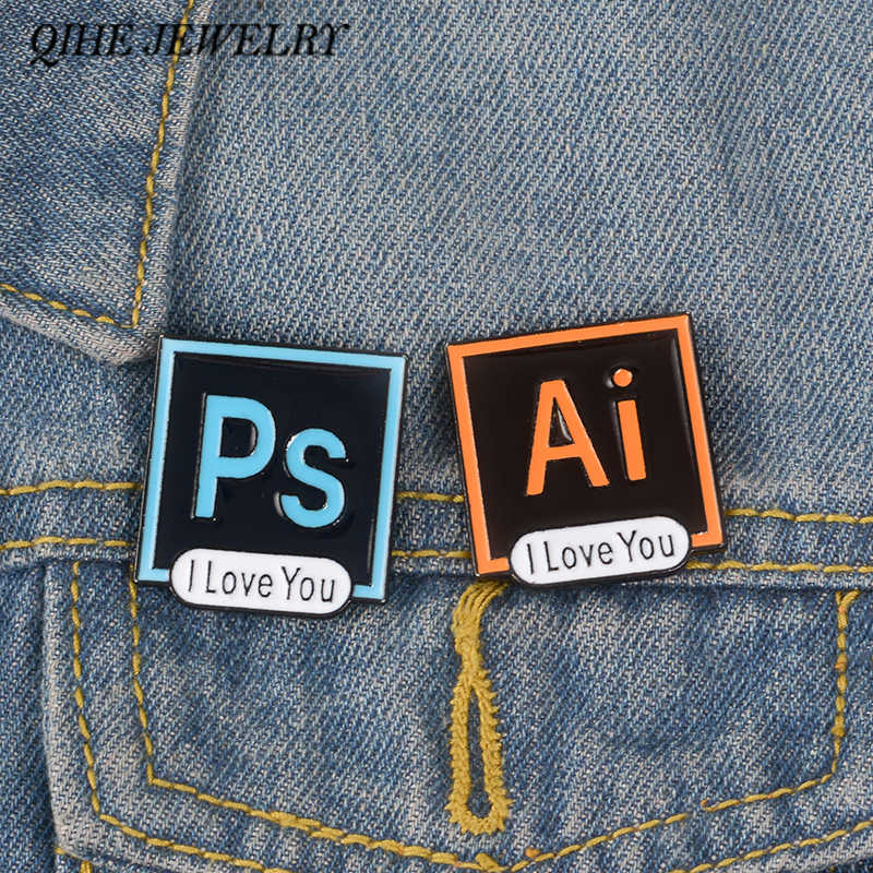 QIHE JEWELRY Illustrator Photoshop Pins I Love You Brooch Toolbar Lapel Pin AI PS Enamel Pins Brooches for Designers and Artists