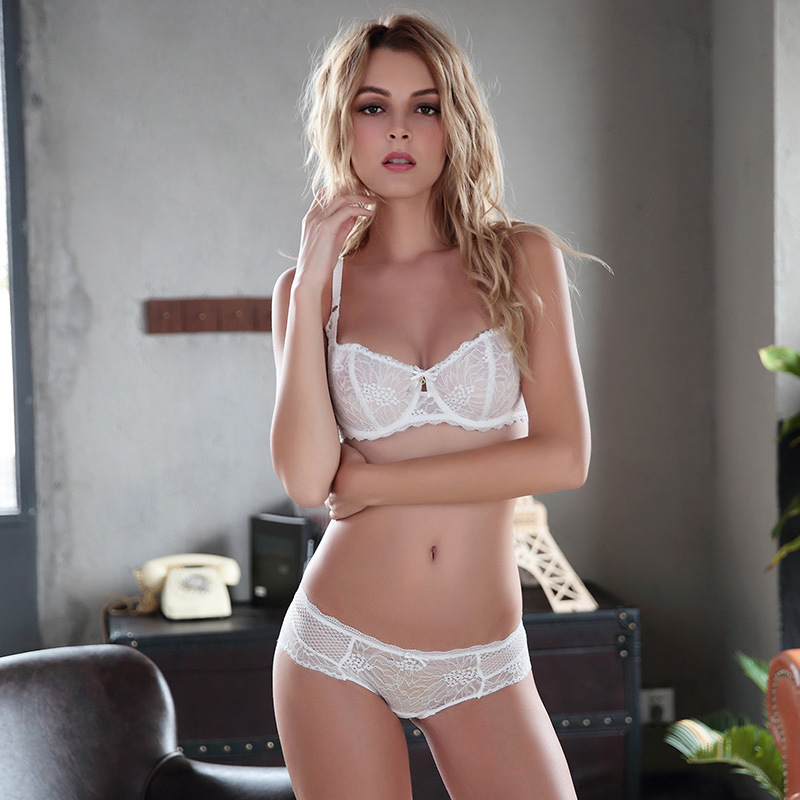cee5cb7f1 QIYIJING New arrival sexy lace bra briefs set ultra thin woman lolita girl  bra set sexy woman underwear set three color-in Bra   Brief Sets from  Underwear ...