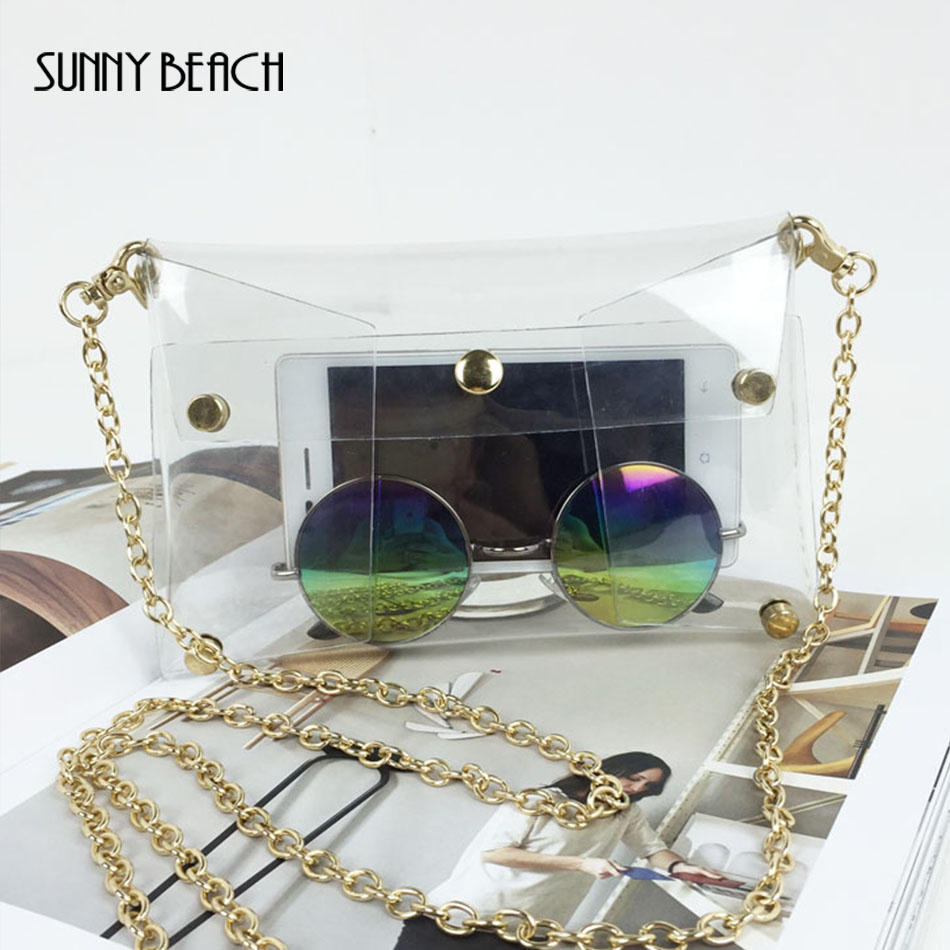 SUNNY BEACH Fashion Summer Women Transparent Bag  PVC Clear Bag Chain Handbag Rivet See Through Bags Lady Clutch Bag алиэкспресс сумка прозрачная