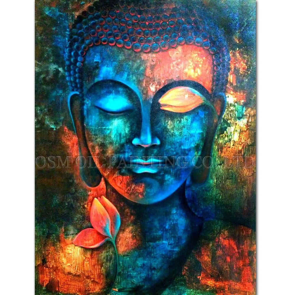Профессиональный художник ручной работы высокое качество Будды картина маслом на холсте богатый Цвета холст Будды Живопись для Гостиная
