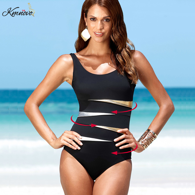 Kmnovo Plus Size One Piece Swimsuit Large Size Swimwear Women Sexy Patchwork Bathing Suit Halter Monokini Beach Wear XXXXL