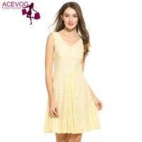 ACEVOG Summer Sleeveless Floral Dress Women Casual V Neck Lace Backless Mini Swing Dress Above Knee