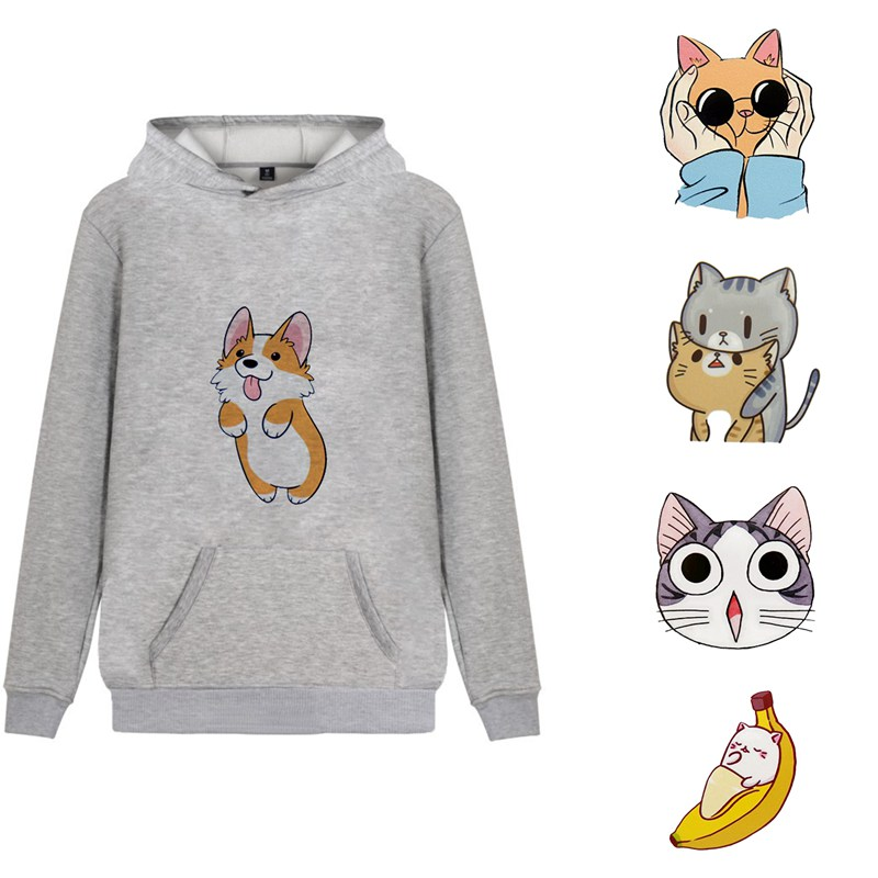 Corgi Cat Harajuku Cute Illustration Personalise Fleecy Anime Hoodie Streetwear Kangaroo Pocket Winter Junior Activewear A194112 Hoodies & Sweatshirts