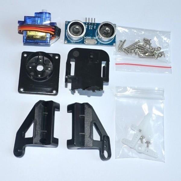 1 unids ultrasónico para HC-SR04 + 1 unids 9g SG90 servo motor + 1 unids FPV dedicado nylon PTZ para arduino kit