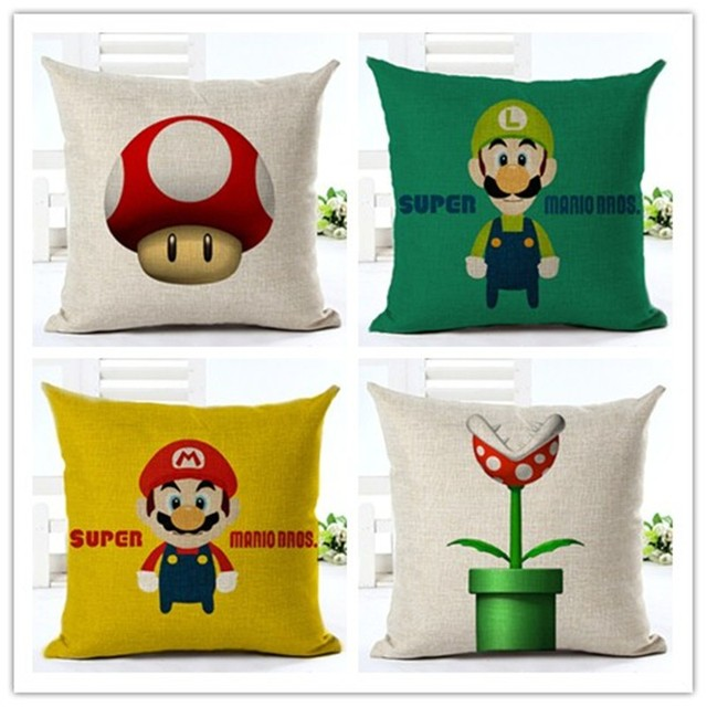 Superbe Cartoon Decorative Throw Pillow Super Mario Mushroom Cotton Linen Cushion  For Sofa Home Decor Almofadas