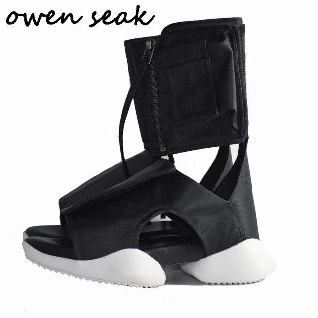 20b1d57b36a Owen Seak Men Sandals Black Rome Shoes Gladiator Sandals High-Top Owen Shoes  Mules Clogs Slippers Slides Summer Men Sandals