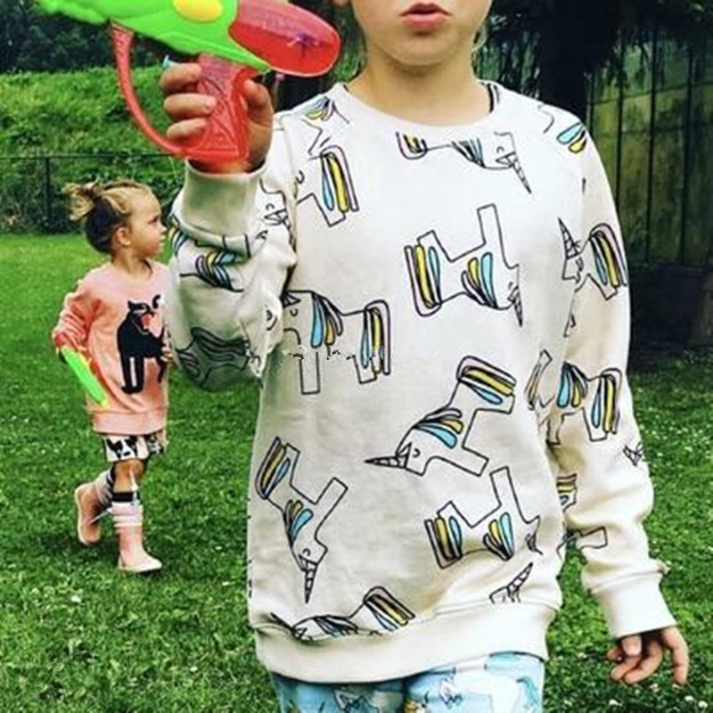 2017 Autumn Girls Tops Baby Girl Sweatshirts Unicorn Long Sleeve T Shirts Children Outerwear Coat Kids