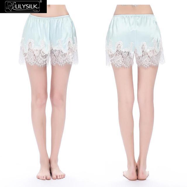 Lilysilk Inicio Pantalones de Las Mujeres Ropa de Verano Cortocircuitos Femeninos Luz Cielo azul Puro 22 momme Seda Real de Encaje Bordado Fondos Para sueño