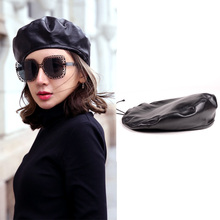 Women's Ladies 100% Real Leather Sheep Skin Lambskin Beret Round Cap Military Style Army Hats/Caps