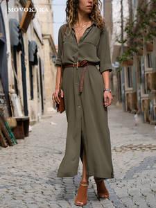 Elegant Women Work-Dress Button Pocket Long-Sleeves Plus-Size Fashion Slim New-Hot