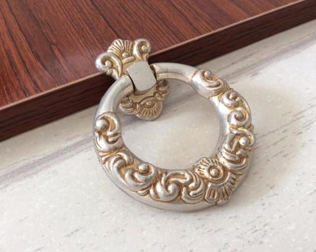 Dresser Drop Rings Drawer Knobs Handles Cupboard Pulls / French Cabinet  Handles Knob Ornate Kitchen Hardware