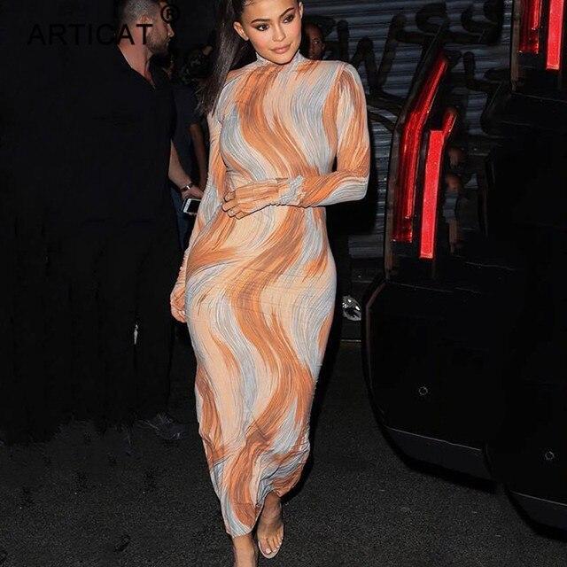 Articat печати Сексуальная Для женщин длинное платье 2018 осень водолазка с длинным рукавом бинты Bodycon платье элегантный тонкий Платье для вечеринки