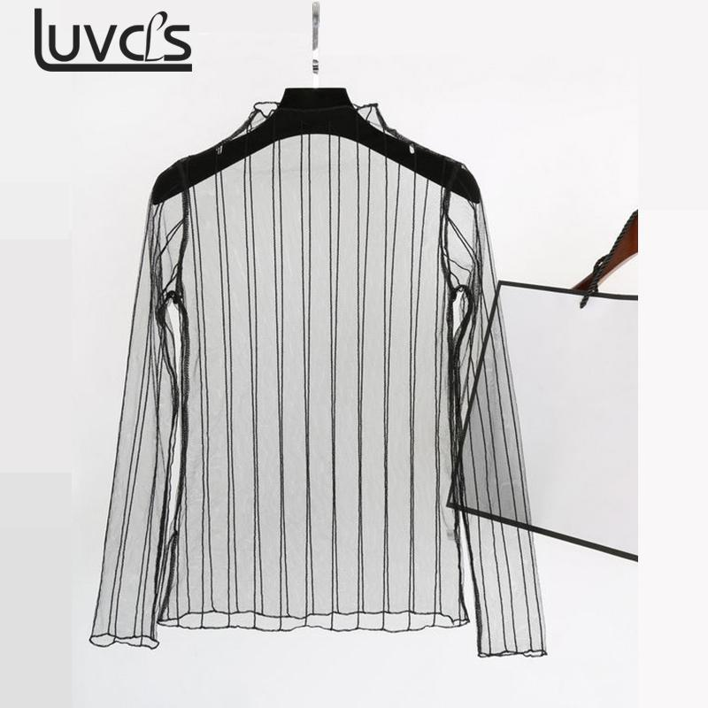 LUVCLS Sexy See Through Mesh Tops Summer Hollow Out Female Tee Shirt 2017 Punk Streetwear Camiseta