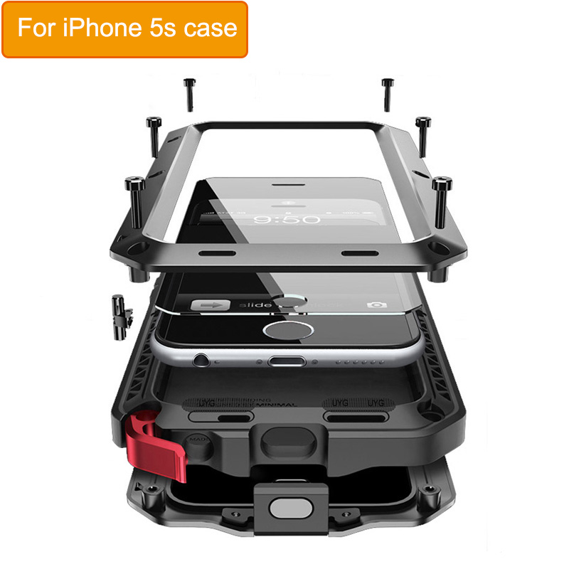 Classic Luxury Metal Case For Iphone 5s Armor Outdoor Shockproof Aluminum Life Waterproof Case Cover Heavy