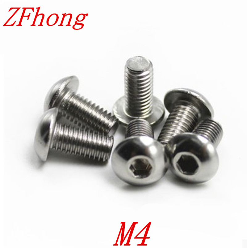 20pcs ISO7380 M4*6/8/10/12/16/20/25/30/35/40/35/50 A2 Stainless Steel Hex socket Button Head Screw Screws 50pcs iso7380 m3 5 6 8 10 12 14 16 18 20 25 3mm stainless steel hexagon socket button head screw