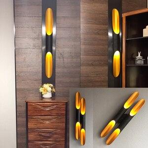 Image 2 - 현대 알루미늄 튜브 벽 조명 e27 전등 골드 블랙 북유럽 레스토랑 거실 통로 복도 발코니 벽 램프