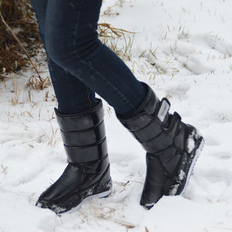 Waterproof non-slip women snow boots fashion black platform women winter shoes white flat fur rain Mid-Calf boots female DBT1052 casual female 2016 new winter brown flat heel boots non slip waterproof round toe knight shoes mid calf wear resistance boots