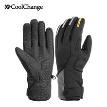 CoolChange Winter Bicycle Gloves Thermal Outdoor Sports Cycling Windproof Long Finger GEL Screen Touch Warm Bike