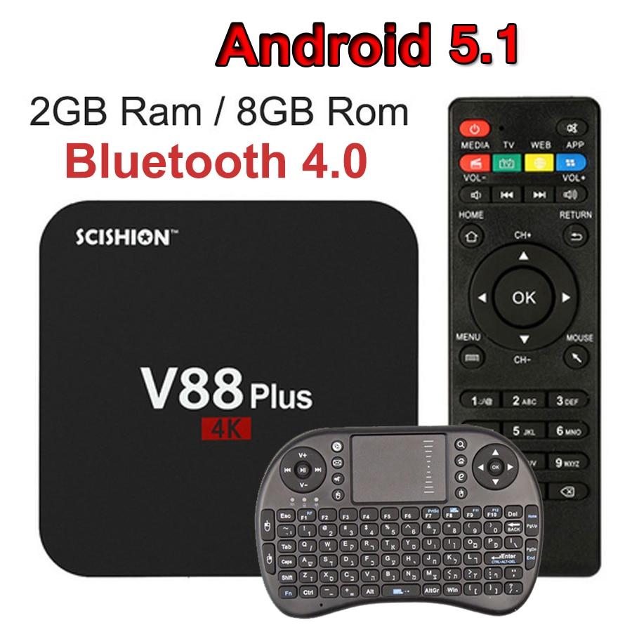 SCISHION V88plus V88 Plus Smart TV Caja Androide 5.1 4 K Quad-core Rockchip 3229